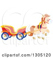 Cute Happy Tan Pony Pulling A Carriage