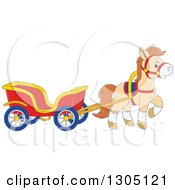 Clipart Of A Cartoon Happy Tan Pony Pulling A Carriage Royalty Free Vector Illustration