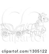 Lineart Clipart Of A Cartoon Black And White Happy Pony Pulling A Carriage Royalty Free Outline Vector Illustration