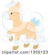 Happy Tan And White Horse Pony Walking And Wearing A Blue Bow