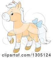 Clipart Of A Cartoon Happy Tan And White Horse Pony Walking And Wearing A Blue Bow Royalty Free Vector Illustration by Alex Bannykh