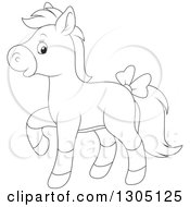 Cartoon Black And White Happy Horse Pony Walking And Wearing A Bow
