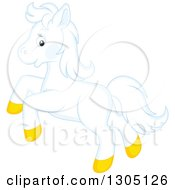 Clipart Of A Happy White Horse Pony Rearing Royalty Free Vector Illustration