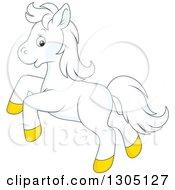 Cartoon Happy White Horse Pony Rearing