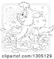 Lineart Clipart Of A Cartoon Black And White Playful Splashing Aquarius Astrology Zodiac Puppy Dog Icon Royalty Free Outline Vector Illustration by Alex Bannykh