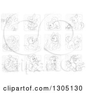 Clipart Of Black And White Astrology Zodiac Puppy Dog Icons Royalty Free Vector Illustration