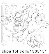Lineart Clipart Of A Cartoon Black And White Swimming Snorkeling Pisces Astrology Zodiac Puppy Dog Icon Royalty Free Outline Vector Illustration by Alex Bannykh