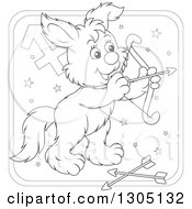 Lineart Clipart Of A Cartoon Black And White Sagitarius Archer Astrology Zodiac Puppy Dog Icon Royalty Free Outline Vector Illustration by Alex Bannykh