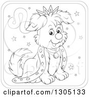 Lineart Clipart Of A Cartoon Black And White King Leo Astrology Zodiac Puppy Dog Icon Royalty Free Outline Vector Illustration
