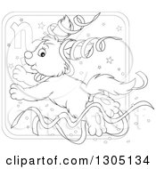 Lineart Clipart Of A Cartoon Black And White Jumping Capricorn Astrology Zodiac Puppy Dog With Ribbons Icon Royalty Free Outline Vector Illustration by Alex Bannykh