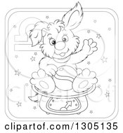 Lineart Clipart Of A Cartoon Black And White Libra Astrology Zodiac Puppy Dog Sitting On A Scale Icon Royalty Free Outline Vector Illustration by Alex Bannykh