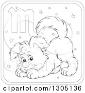 Lineart Clipart Of A Cartoon Black And White Scorpio Astrology Zodiac Puppy Dog Icon Royalty Free Outline Vector Illustration by Alex Bannykh