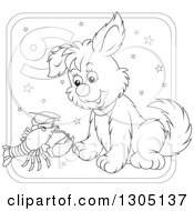 Lineart Clipart Of A Cartoon Black And White Cancer Astrology Zodiac Puppy Dog With A Crab Or Crawdad Icon Royalty Free Outline Vector Illustration by Alex Bannykh