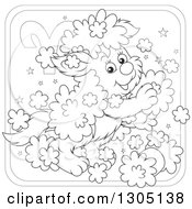 Lineart Clipart Of A Cartoon Black And White Playful Fluffy Aries Astrology Zodiac Puppy Dog Icon Royalty Free Outline Vector Illustration by Alex Bannykh