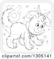 Lineart Clipart Of A Cartoon Black And White Taurus Astrology Zodiac Puppy Dog Wearing Two Party Hats Like Horns Icon Royalty Free Outline Vector Illustration