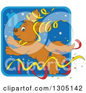 Clipart Of A Cartoon Jumping Capricorn Astrology Zodiac Puppy Dog With Ribbons Icon Royalty Free Vector Illustration by Alex Bannykh