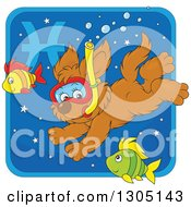 Clipart Of A Cartoon Swimming Snorkeling Pisces Astrology Zodiac Puppy Dog Icon Royalty Free Vector Illustration by Alex Bannykh
