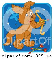 Clipart Of A Cartoon Sagitarius Archer Astrology Zodiac Puppy Dog Icon Royalty Free Vector Illustration