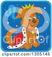 Clipart Of A Cartoon King Leo Astrology Zodiac Puppy Dog Icon Royalty Free Vector Illustration