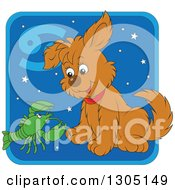 Clipart Of A Cartoon Cancer Astrology Zodiac Puppy Dog With A Crab Or Crawdad Icon Royalty Free Vector Illustration
