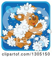 Clipart Of A Cartoon Playful Fluffy Aries Astrology Zodiac Puppy Dog Icon Royalty Free Vector Illustration