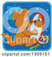 Clipart Of A Cartoon Gemini Astrology Zodiac Puppy Dog Looking In A Mirror Icon Royalty Free Vector Illustration