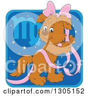 Clipart Of A Cartoon Virgo Astrology Zodiac Puppy Dog With A Pink Bow And Ribbon Icon Royalty Free Vector Illustration