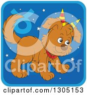 Clipart Of A Cartoon Taurus Astrology Zodiac Puppy Dog Wearing Two Party Hats Like Horns Icon Royalty Free Vector Illustration