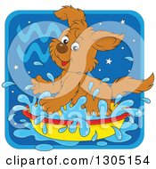 Clipart Of A Cartoon Playful Splashing Aquarius Astrology Zodiac Puppy Dog Icon Royalty Free Vector Illustration