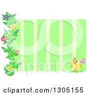 Yellow Duck With An Umbrell Floral Vine And Green Stripe Frame