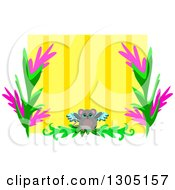 Winged Angel Mouse And Floral Frame Over Yellow Stripes