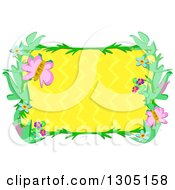 Clipart Of A Floral And Butterfly Frame With Yellow Zig Zags Royalty Free Vector Illustration by bpearth