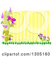 Clipart Of A Floral And Butterfly Frame With Yellow Stripes Royalty Free Vector Illustration by bpearth
