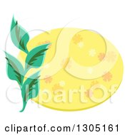 Clipart Of A Yellow Floral Oval And Green Leaves Royalty Free Vector Illustration