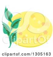 Yellow Floral Oval And Leaves