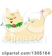 Happy Beige Cat Singing And Wearing A Flower Collar