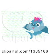 Happy Blue Fish And Waves