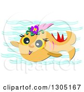 Happy Orange Fish With Flowers And Waves