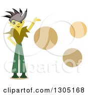 Boy With Spiked Hair Presenting Orange Circles