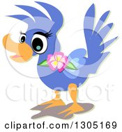Clipart Of A Blue Bird With A Hibiscus Flower Royalty Free Vector Illustration by bpearth