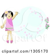 Friendly Girl Waving By An Oval Floral Frame
