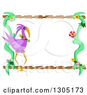 Purple Flamingo Flower And Wood Frame
