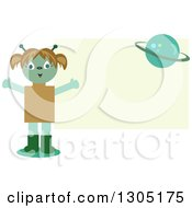 Clipart Of A Happy Alien Girl And Planet Over A Pastel Green Rectangle Royalty Free Vector Illustration by bpearth
