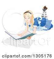 Clipart Of Alice In Wonderland Resting On The Floor And Reading A Book Royalty Free Vector Illustration by Pushkin