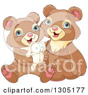 Clipart Of Cute Happy Bear Brothers Sitting With A Stuffed Bunny Rabbit Royalty Free Vector Illustration
