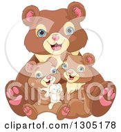 Clipart Of A Cute Happy Bear Family Cuddling With A Stuffed Bunny Rabbit Royalty Free Vector Illustration