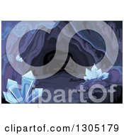 Clipart Of A Dark Cave With Crystals Royalty Free Vector Illustration