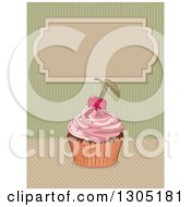 Clipart Of A Cherry Topped Pink Frosted Cupcake Over Dots And Green Stripes With A Blank Frame Royalty Free Vector Illustration