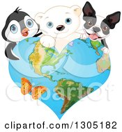Clipart Of A Cute Polar Bear Cub Penguin And A French Dog Or Boston Terrier Over A Heart Shaped Earth With A Butterfly Royalty Free Vector Illustration