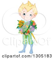 Clipart Of A Cute Blue Eyed Blond Caucasian Prince In A Colorful Uniform Holding A Flower Bouquet Royalty Free Vector Illustration by Pushkin